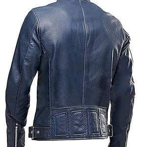 Cafe Racer Navy Blue Vintage Biker Classic Motorcycle Real Leather Jacket