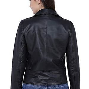 Women's Jasper Lambskin Real Leather Biker Jacket in Classic Black