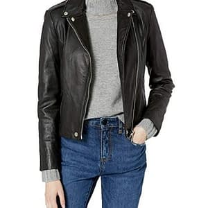 Women's Leather Washed Biker Jacket