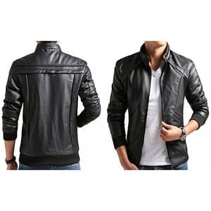 Men's Black Slim Fit Varsity Style Leather Jacket