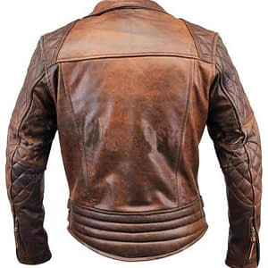 Men's Biker Classic Diamond Vintage Motorcycle Distressed Brown Genuine Leather Jacket