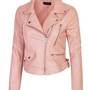 Women's Faux Leather Zip Up Everyday Bomber Jacket (Pink)